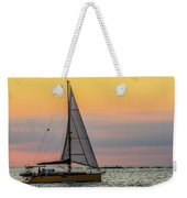 Yellow Sailboat At Sunrise Weekender Tote Bag