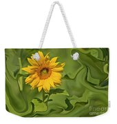 Yellow Sunflower On Green Background Weekender Tote Bag