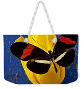 Yellow Tulip With Orange And Black Butterfly Weekender Tote Bag