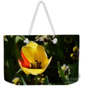 Yellow Tulip With Red Stripe Weekender Tote Bag