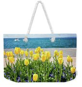 Yellow Tulips Near Lake Weekender Tote Bag