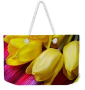 Yellow Tulips With Dew Drops Weekender Tote Bag