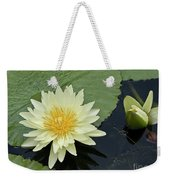 Yellow Water Lily With Bud Nymphaea Weekender Tote Bag by Heiko Koehrer-Wagner