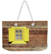 Yellow Window On Wooden Hut Wall Weekender Tote Bag