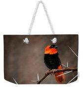 Yikes Spikes - Red Bishop Weaver Bird Weekender Tote Bag