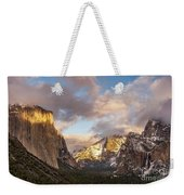 Yosemite Tunnel View Sunset In Winter Weekender Tote Bag