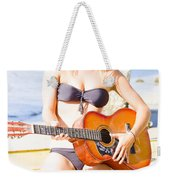 Young Attractive Blonde Woman Playing Guitar Weekender Tote Bag