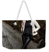 Young Attractive Woman Standing In The Wet Cobblestone Reber All Weekender Tote Bag