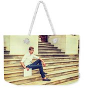 Young Businessman Sitting On Stairs, Relaxing Outside Weekender Tote Bag