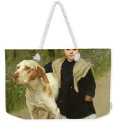 Young Child And A Big Dog Weekender Tote Bag