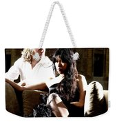 Young Couple Outdoors At A Mansion On A Couch In Harsh High Cont Weekender Tote Bag