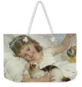 Young Girl And Cat Weekender Tote Bag