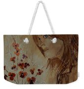 Young Girl And Flowers  Weekender Tote Bag