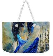Young Girl In Blue Weekender Tote Bag