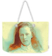 Young Girl In High Collared White Blouse Weekender Tote Bag