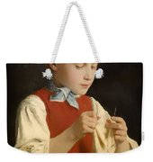 Young Girl Knitting Weekender Tote Bag