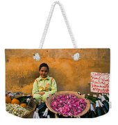 Young Girl Selling Rose Petals In The Medina Of Fes Morroco Weekender Tote Bag