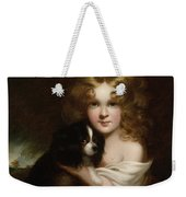 Young Girl With A Dog Weekender Tote Bag