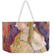 Young Girl With A Fan Weekender Tote Bag