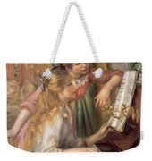 Young Girls At The Piano Weekender Tote Bag by Pierre Auguste Renoir