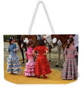 Young Girls In Flamenco Dresses Looking At Horses At The April F Weekender Tote Bag