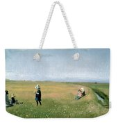 Young Girls Picking Flowers In A Meadow Weekender Tote Bag