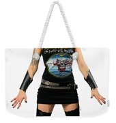 Young Heavy Metal Female Punk Fan Standing Tall With Horns Pierc Weekender Tote Bag
