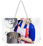 Young Housewife Lifting Lid On A Home Cooking Pot Weekender Tote Bag