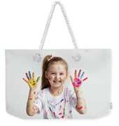 Young Kid Showing Her Colorful Hands Weekender Tote Bag