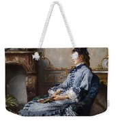 Young Lady At The Fireplace Weekender Tote Bag