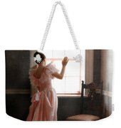 Young Lady In Pink Gown Looking Out Window Weekender Tote Bag