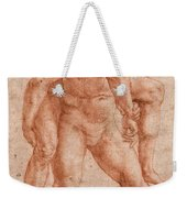 Young Man Carrying An Old Man On His Back Weekender Tote Bag