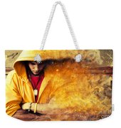 Young Man In Hooded Sweatshirt On Grunge Wall Weekender Tote Bag