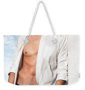 Young Man In Unbuttoned Shirt Weekender Tote Bag