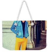 Young Man Standing On Street, Relaxing Outside Weekender Tote Bag