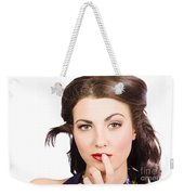 Young Model With Bright Make-up And Clean Nails Weekender Tote Bag