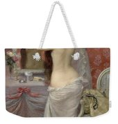 Young Nude Woman Styling In An Interior Weekender Tote Bag