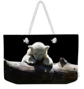 Young Polar Bear On A Log Weekender Tote Bag