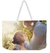 Young Romantic Couple Flirting In Sunshine Weekender Tote Bag
