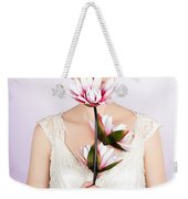 Young Romantic Woman With Lotus Flowers Weekender Tote Bag