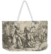 Young Saint John The Baptist Kneeling Before The Infant Christ Weekender Tote Bag