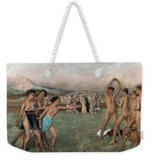 Young Spartans Exercising Weekender Tote Bag