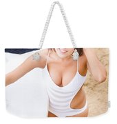 Young Surfer Woman Weekender Tote Bag