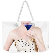 Young Woman Drinking Alcoholic Beverage Weekender Tote Bag