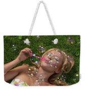 Young Woman Having Fun In Summer Weekender Tote Bag
