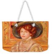 Young Woman In A Blue Hat Weekender Tote Bag by Pierre Auguste Renoir