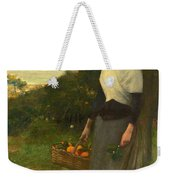 Young Woman In A Garden Of Oranges Weekender Tote Bag