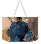 Young Woman In Blue Weekender Tote Bag