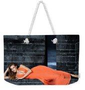 Young Woman In Long Orange Dress Weekender Tote Bag