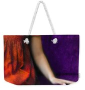 Young Woman In Red On Purple Couch Weekender Tote Bag by Jill Battaglia